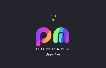 pm p l  creative rainbow green orange blue purple magenta pink artistic alphabet company letter logo design vector icon template