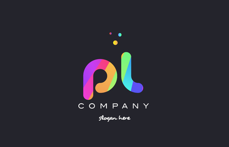 pl p l  creative rainbow green orange blue purple magenta pink artistic alphabet company letter logo design vector icon template