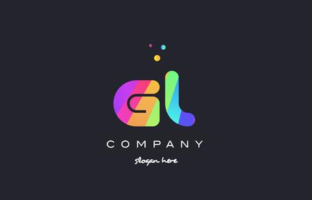 gl g l  creative rainbow green orange blue purple magenta pink artistic alphabet company letter logo design vector icon template