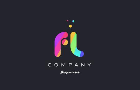 fl f l  creative rainbow green orange blue purple magenta pink artistic alphabet company letter logo design vector icon template