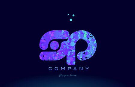 sp alphabet pink blue bubble circle dots logo icon design template