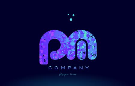 pm alphabet pink blue bubble circle dots logo icon design template