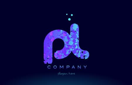 pl alphabet pink blue bubble circle dots logo icon design template