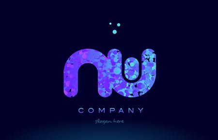 nw alphabet pink blue bubble circle dots logo icon design template