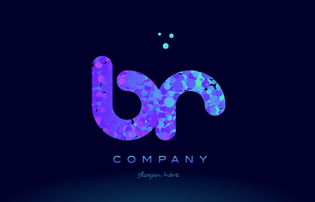 br b r alphabet pink blue bubble circle dots creative letter company logo vector icon design template