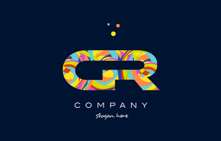 cr c r alphabet letter logo colors colorful rainbow acrylic font creative text dots company vector icon design template