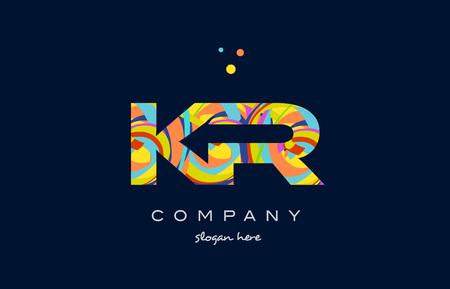 kr k r alphabet letter logo colors colorful rainbow acrylic font creative text dots company vector icon design template