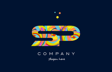 sp s p alphabet letter logo colors colorful rainbow acrylic font creative text dots company vector icon design template