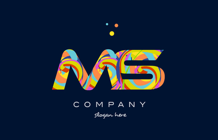 ms m s alphabet letter logo colors colorful rainbow acrylic font creative text dots company vector icon design template