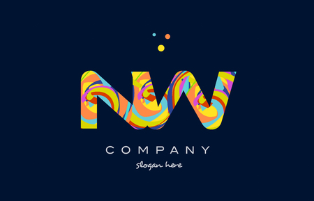 nw n w alphabet letter logo colors colorful rainbow acrylic font creative text dots company vector icon design template