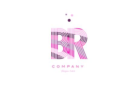 br b r alphabet letter logo pink purple line font creative text dots company vector icon design template