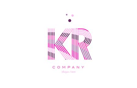kr k r alphabet letter logo pink purple line font creative text dots company vector icon design template