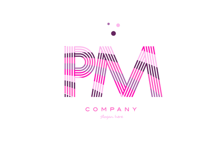 pm p l alphabet letter logo pink purple line font creative text dots company vector icon design template