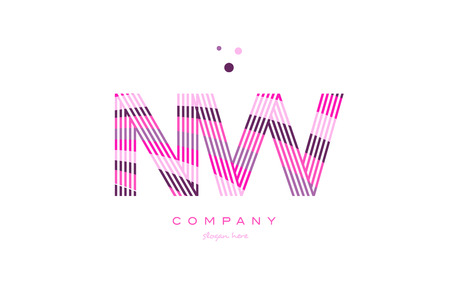 nw n w alphabet letter logo pink purple line font creative text dots company vector icon design template
