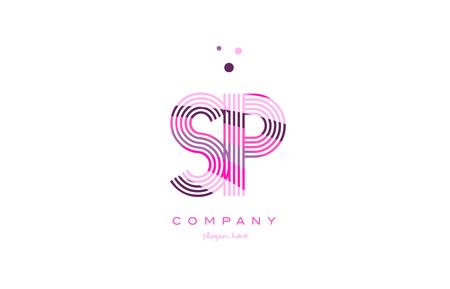 sp s p alphabet letter logo pink purple line font creative text dots company vector icon design template
