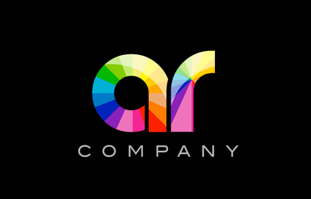 AR A R joint combination alphabet letter mosaic rainbow logo vector creative company icon design template color colorful black background