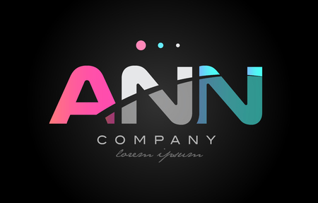 ANN a n n three 3 letter logo combination alphabet vector creative company icon design template modern  pink blue white grey