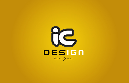 design of bold alphabet letter combination ic i c with white color and black contour on yellow background suitable for a company or business
