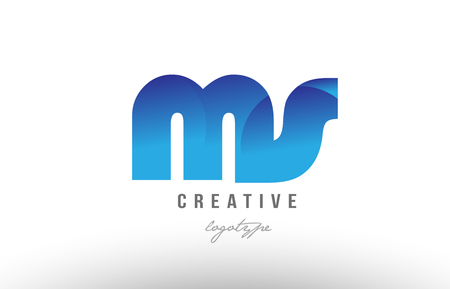Design of alphabet letter logo combination ms m s with blue gradient color for a company or business