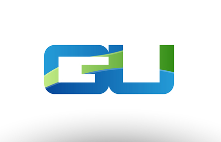 Design of alphabet letter logo combination gu g u with blue green color suitable as a logo for a company or business