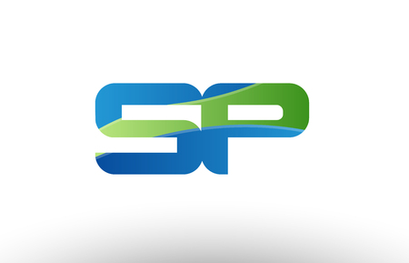 Design of alphabet letter logo combination sp s p with blue green color suitable as a logo for a company or business