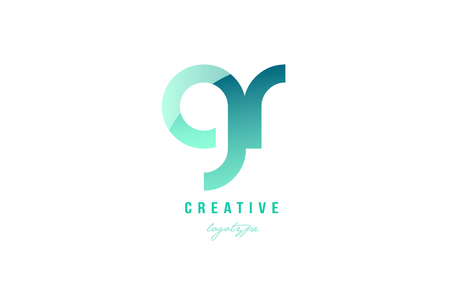 Design of alphabet modern letter logo combination gr g r with green pastel gradient color for a company or business