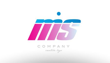 ms m s alphabet letter combination in pink and blue color. Can be used as a logo for a company or business with initials