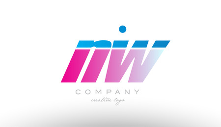 nw n w alphabet letter combination in pink and blue color. Can be used as a logo for a company or business with initials