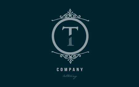 Design of alphabet letter t with blue pastel color and decorative circle monogram suitable as a logo for a company or business