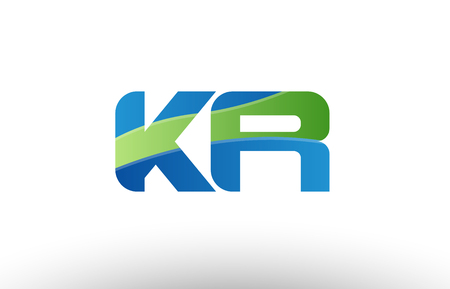 Design of alphabet letter logo combination kr k r with blue green color suitable as a logo for a company or business