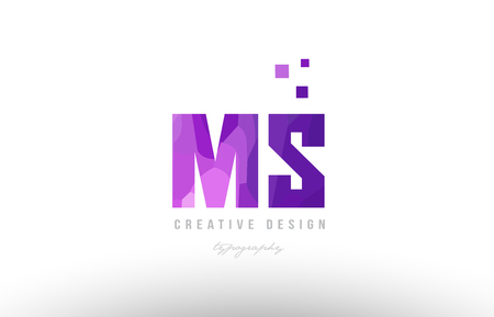 Design of alphabet letter icon ms with pink color and squares suitable as an icon for a company or business.