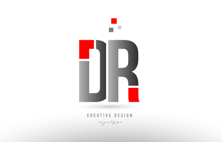 red grey alphabet letter dr d r logo combination design suitable for a company or business