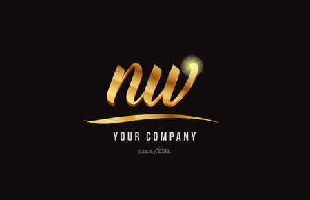 Gold golden alphabet letter n, w icon combination design suitable for a company or business.