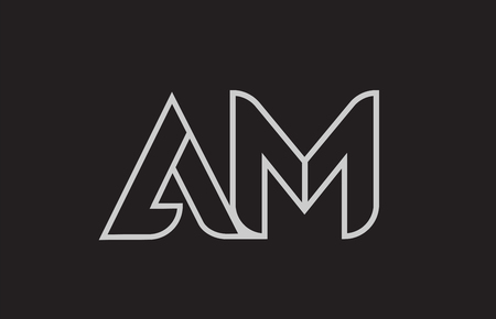 black and white alphabet letter am a m logo combination design suitable for a company or business