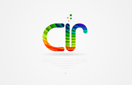 cr c r alphabet letter logo icon combination design with rainbow color