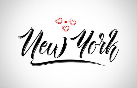 Illustration pour new york  city text design with red heart typographic icon design suitable for touristic promotion - image libre de droit