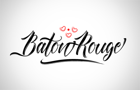 baton rouge city text design with red heart typographic icon design suitable for touristic promotion