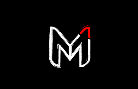 grunge alphabet letter m logo design in white red and black colors suitable for a company or business