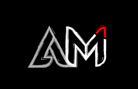 grunge alphabet letter combination am a m logo design in white red and black colors suitable for a company or business