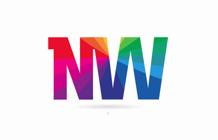 alphabet letter nw n w logo combination design with rainbow colors suitable for a company or business