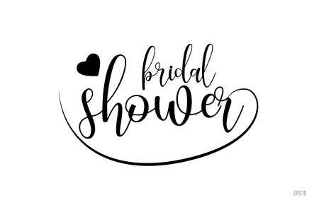 Illustration pour bridal shower word text with black and white love heart suitable for card, brochure or typography logo design - image libre de droit