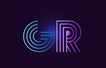 gr g r line blue pink design of alphabet letter combination with gradient color suitable as a logo for a company or business