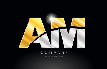 combination letter am a m alphabet logo icon design with gold silver grey metal on black background suitable for a company or business