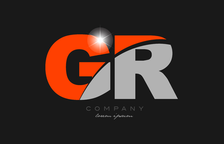 combination letter gr g r in grey orange color alphabet logo icon design suitable for a company or business