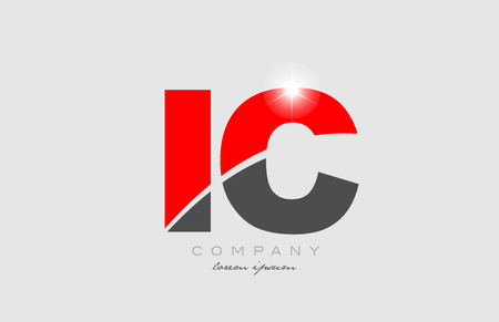 combination letter ic i c in grey red color alphabet logo icon design suitable for a company or business