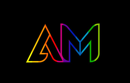 rainbow color colored colorful alphabet letter am a m logo combination design suitable for a company or business