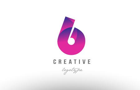 Illustration pour Design of number digit six 6 with pink gradient color suitable as a logo for a company or business - image libre de droit
