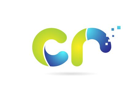 cr c r blue green alphabet combination letter logo design suitable for a company or business