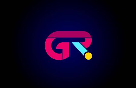 pink blue alphabet letter GR G R combination for company logo. Suitable as logotype design for a business