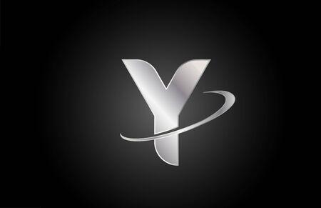 Photo pour Y metal alphabet letter logo icon for company and business with swoosh design - image libre de droit